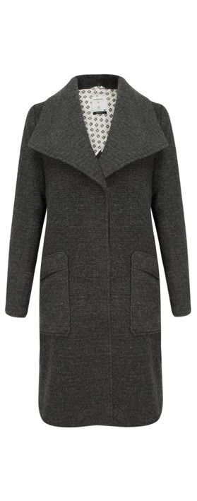 pockets and collar Sandwich Clothing Longline Wool Coat Grey Magnet