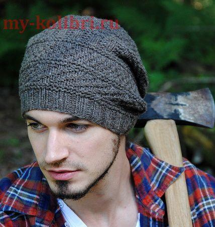 Как связать мужскую шапку спицами комбинированным узором: описание вязания на сайте Колибри. Отсутствие сложной техники вязания делает вязание этой шапки спицами доступной для начинающих.