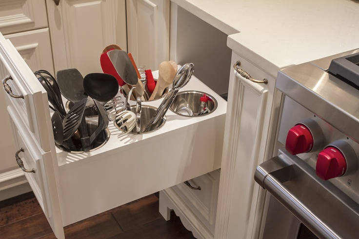 Renovating a kitchen? Consider this idea for taming utensils. From Work-in-Wood.com
