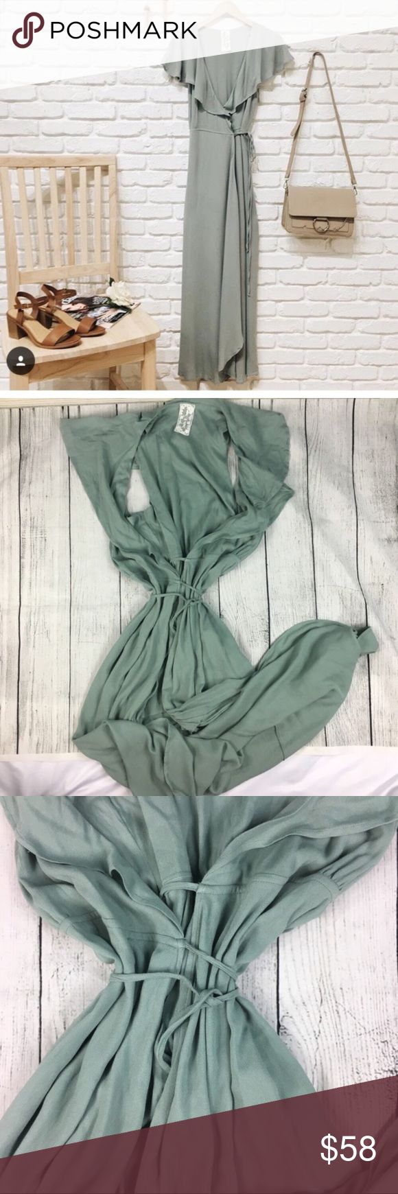 """LAST 🆕Gorgeous cream green wrap maxi dress 👗💚 DR:08800 A must have wrap dress. It is a light creamy green. Super stylish and comfy. Has a gorgeous ruffle v neck line. The perfect going out dress. MEASUREMENTS: length: about 54"""" laying on floor— Dorimas Closet Dresses Maxi"""