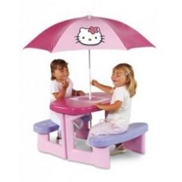 Picknickset in Hello Kitty thema.  Wordt geleverd:  inclusief parasol  opbergvakje in het tafelblad