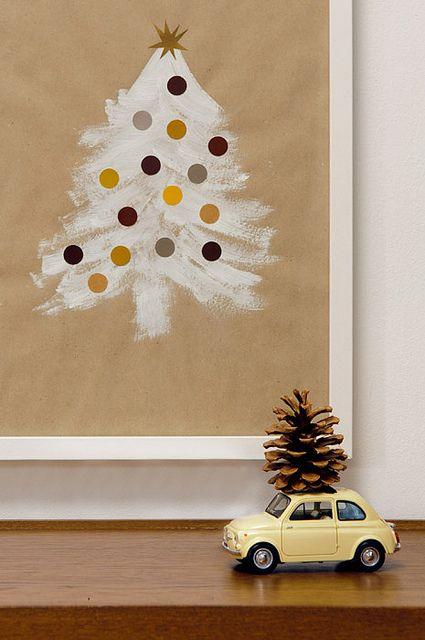 DIY Holiday Kids Craft - cute Christmas tree on brown paper