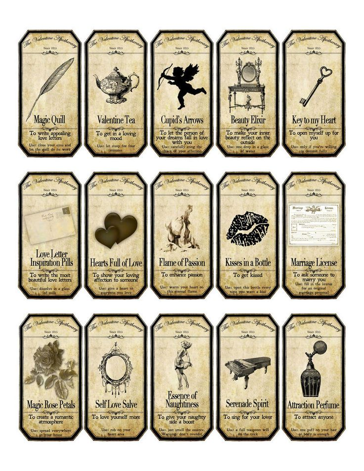 Valentine steampunk apothecary label stickers set of 15 scrapbooking crafts #HandCrafted #ValentinesDay