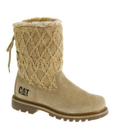 Beige Bruiser Scrunch Faux Fur Boot by CAT Footwear #