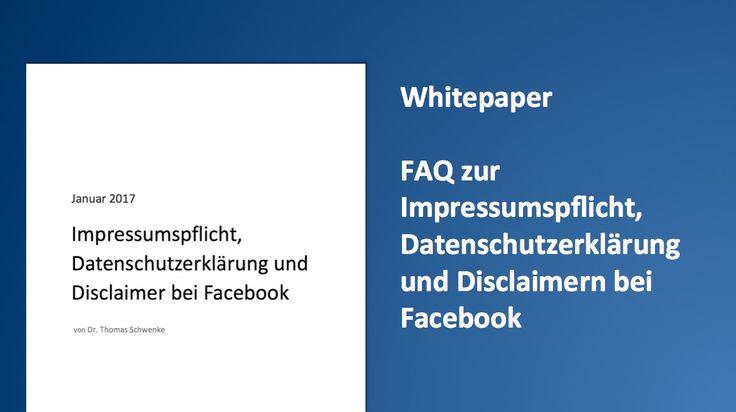 Diese Angaben solltest Du auf Deiner Facebook-Seite unbedingt beachten. Whitepaper zur #Impressumspflicht:  #seonerd
