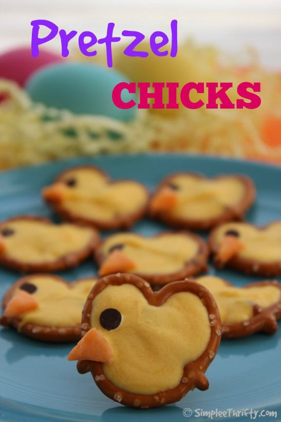 Pretzel Chicks: These was so easy and fun to make! Make these for a little Easter Treat for after dinner, or even a school treat. They will be a big hit! These kids also really enjoyed making these as well!