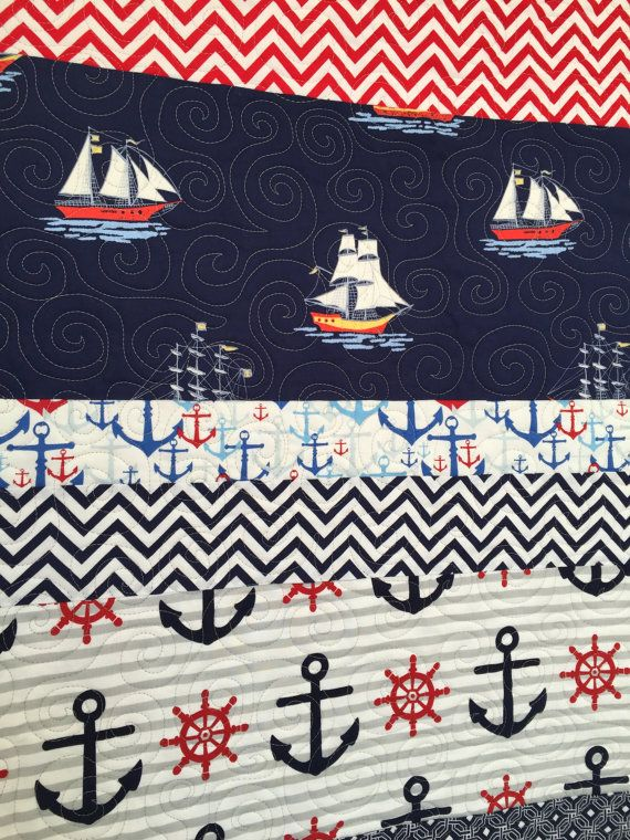 Nautical baby quilts Nautical crib bedding by BabyQuiltsbyRomiW