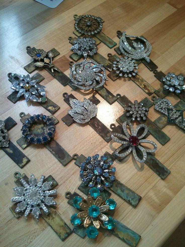Vintage embellished cross pendants...by The Vintage Junkie