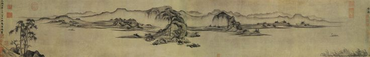 """Crossing Rivers"", Layered Mountains (重江疊嶂圖) Zhao Mengfu (趙孟頫, 1254-1322), Yuan Dynasty (1279-1368) Handscroll, ink on paper, 28.4 x 176.4 cm, National Palace Museum, Taipei, China"