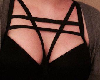 Black Elastic Cage Bra Harness by RABBITHEARTshop on Etsy