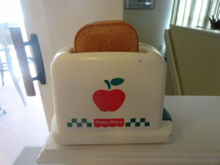 FISHER PRICE Pretend Kitchen Popping Toaster with pretend food Vintage 1997