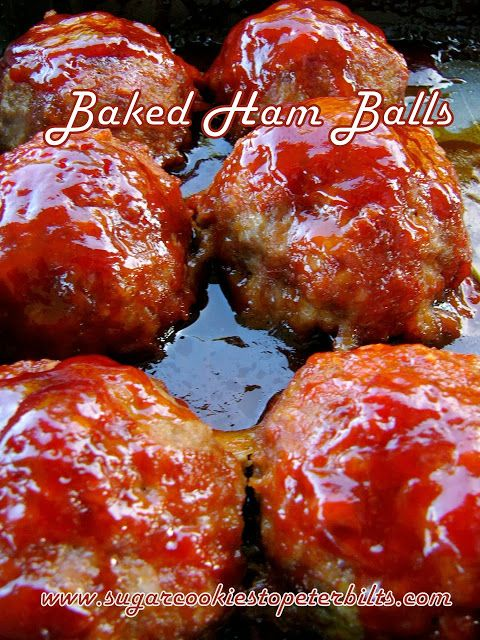 Glazed Ham Balls...I've eaten these since I was a small kid.  I think they're pretty much an Iowa thing.  Man they are good!!!