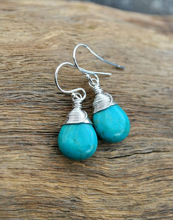 Jewelry Turquoise Turquoise Earrings Sterling Silver Real Turquoise Dangle Earrings Sim Turquoise Jewelry