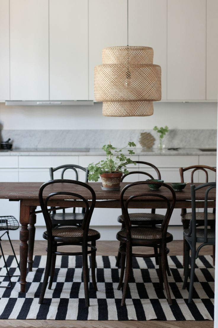 Bentwood chairs and table - Large Pendant Over The Dining Table