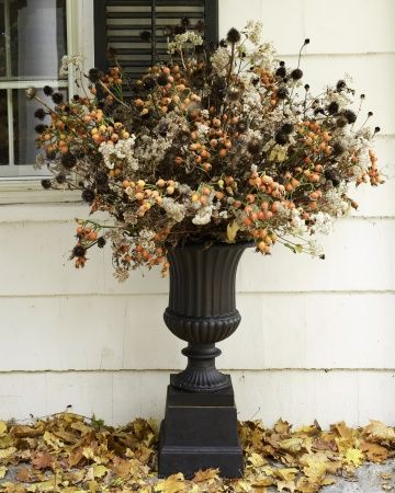 autumn urn arrangement