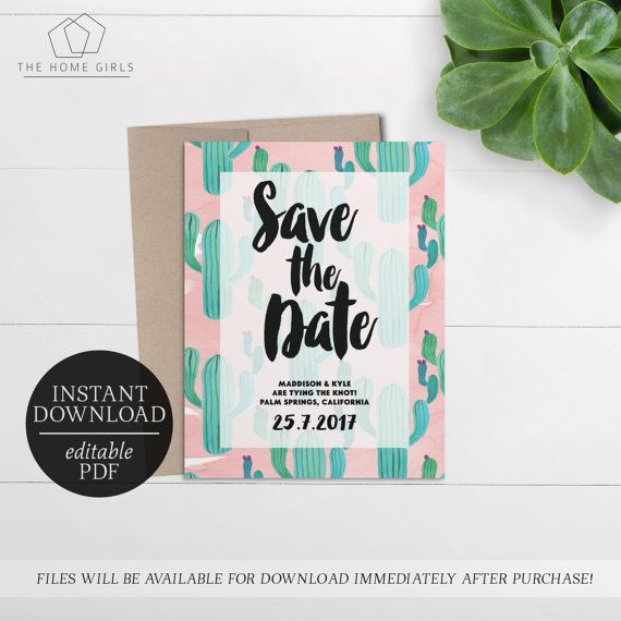 Save The Date Cactus Invitation Printable  Editable Template