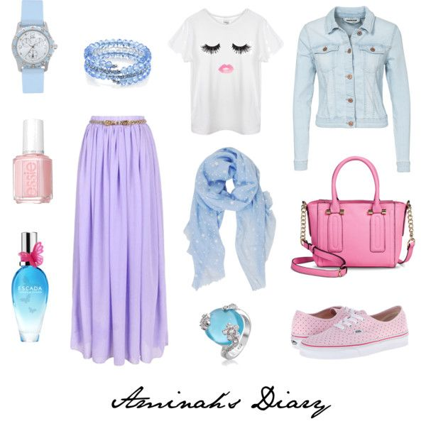 http://aminahshijabdiary.wordpress.com/ #hijab #muslimah #fashion #ootd #look #outfit #style #young #sweet #skirt #pastel #denim #pink #blue #white