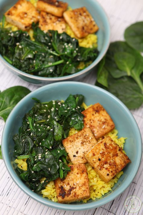 Simple Spinach Tofu With Rice, not much flavor so I ended up adding some Worcestershire sauce. More Turmeric would be good too.