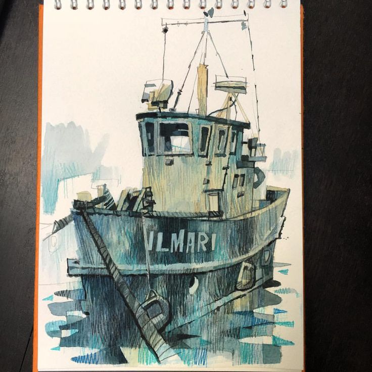 Saw some great old boats in Helsinki harbour yesterday. #watercolour #watercolor #sketchbook #illustration #helsinki #boat #harbour #pinkpigsketchbooks #licaf