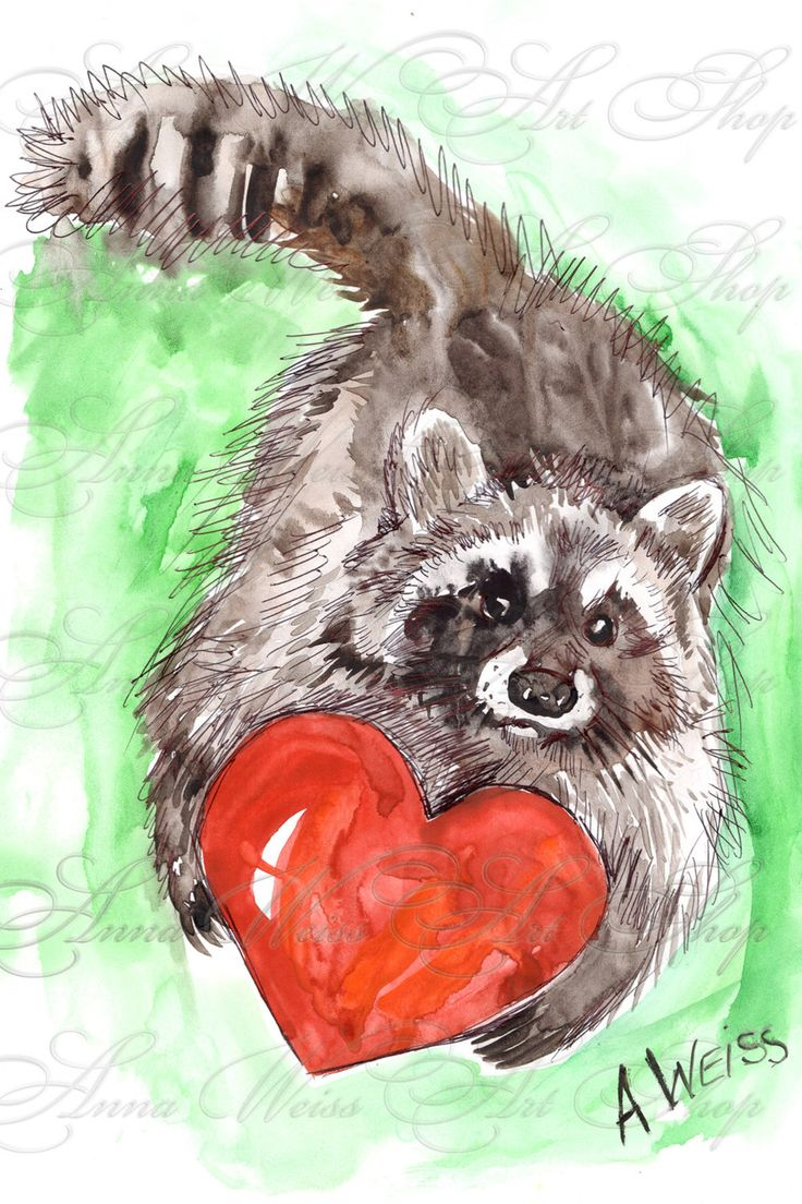 Raccoon Valentine's Day greeting card postcard big red heart handpainted watercolor digital for print russian artist gift idea funny animal by AnnaWeissArt on Etsy