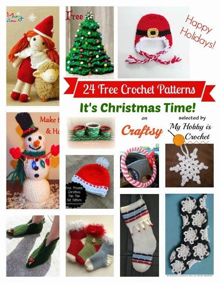 24 Christmas Themed FREE Crochet Patterns on Craftsy:  http://www.myhobbyiscrochet.com/2014/12/24-christmas-themed-free-crochet.html