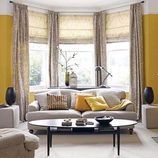 Contemporary Yellow + Grey Living Room