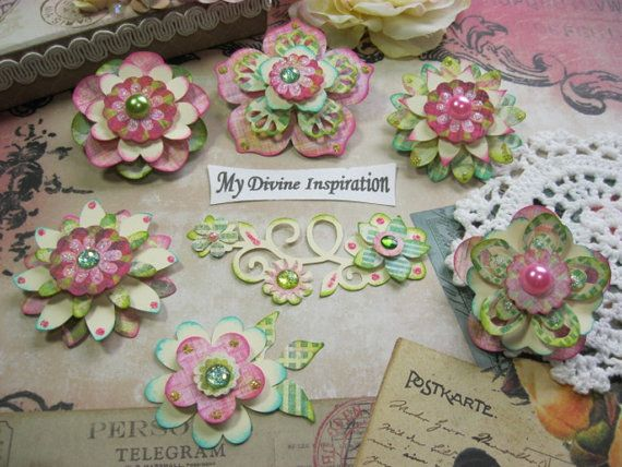 Basic Grey Sweet Threads Pink Green Ivory Paper Embellishments and Paper Flowers for Scrapbook Layouts Cards Mini Albums Tags Papercrafts