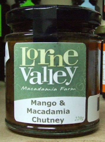 Lorne Valley Mango & Macadamia Chutney - 220g Ingredients:  mango, sugar, white vinegar, apple, onion, macadamias, sultanas, pineapple, dates, salt, spices  great with chicken also BBQ sweet potato  Product of Australia  (BT-REL-LV-MMC220) $13.00