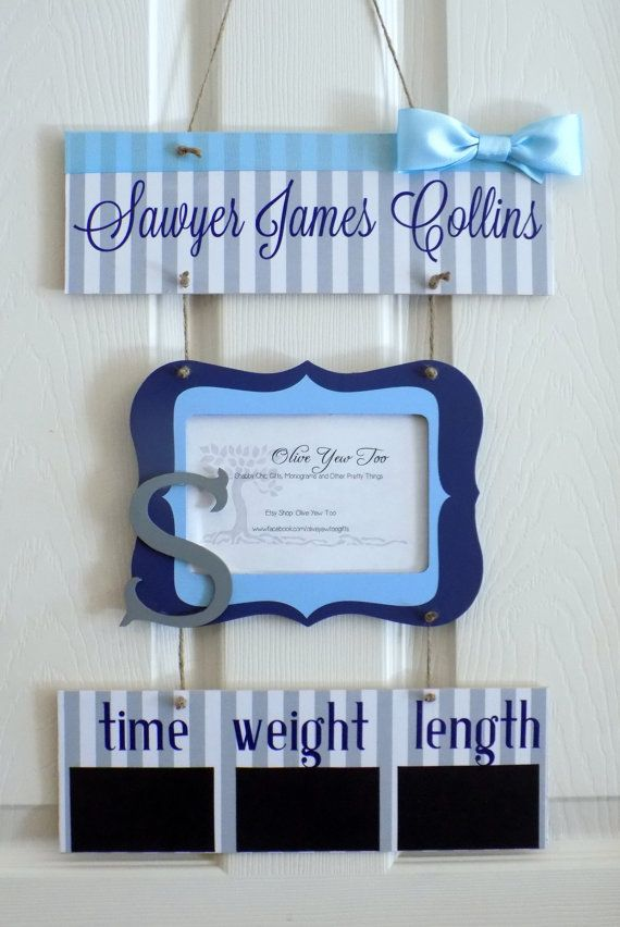 12 x 21 Blue and Gray Welcome Baby Boy Hospital by OliveYewToo