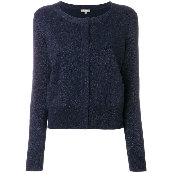 N.Peal cropped sparkle cardigan (6,780 EGP) ❤ liked on Polyvore featuring tops, cardigans, blue, cut-out crop tops, blue cashmere cardigan, crop top, blue sparkly top and sparkly crop top