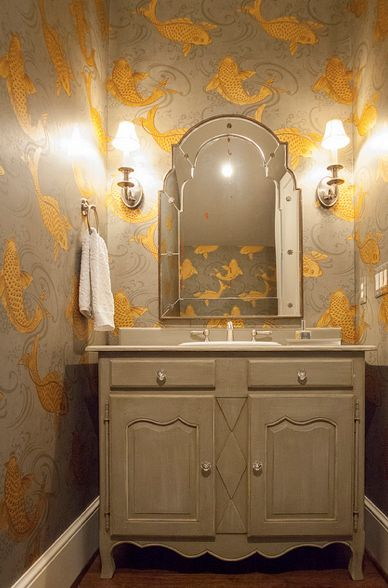 For powder room?  Lucy and Company - bathrooms - Osborne and Little Derwent Wallpaper, koi wallpaper, fish wallpaper, wallpapered powder room, powder room wal...