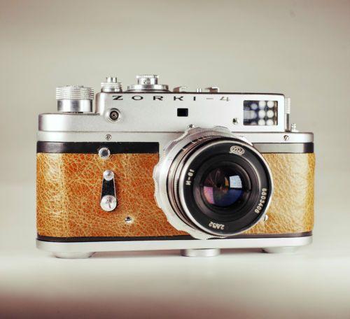 Zorki 4 / Brown Leather Skin / Vintage Film Rangefinder / LightBurn Camera / 52mm f2.8 lens / 59.99