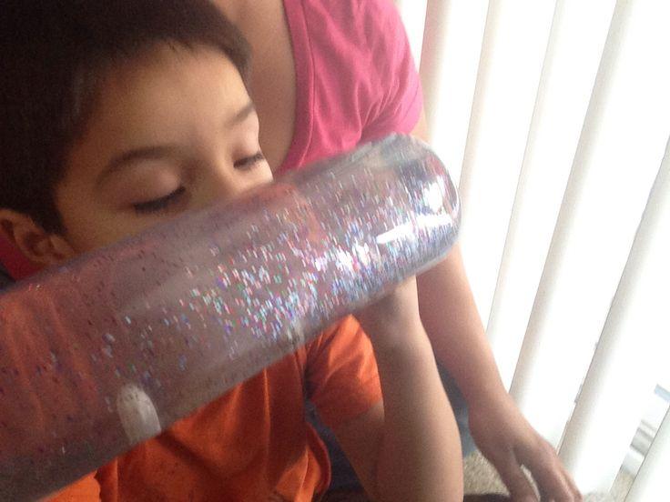 Enjoying a calming bottle