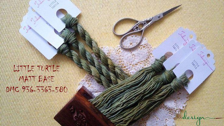 Hand painted matt cotton floss 'LITTLE TURTLE' hand dyed thread for embroidery, cross stitch, punto cruz, point de croix, blackwork by xJudesign on Etsy