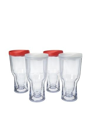 83% OFF AdNArt Set of 4 Brew to Go, Red/White