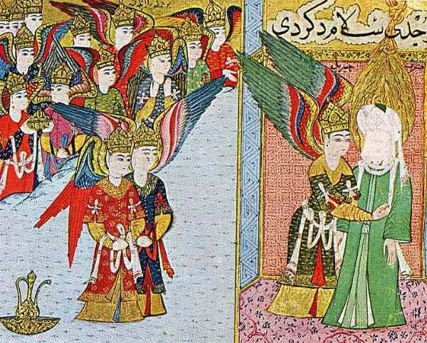 "The Angel Gabriel cleansing Mohammed's heart of impurities in preparation for his ascent to heaven, while the other angels watch. From the 16th-century manuscript The Progress of the Prophet, from Turkey. Image taken from this site which not only features other images of Mohammed but also has a very informative essay about the folkloric and mythological origins of the ""miraj,"" which is not actually described in the Koran."