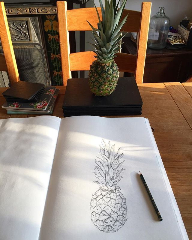 Sketching & sunshine  bliss. Listening to the kids happily playing in the garden (for at least half an hour). . . . . . #pineapple #sunshine #sketching #shadows #spring #springfinally #drawing #smalldelights #hampshire #rachelreynoldstextiles