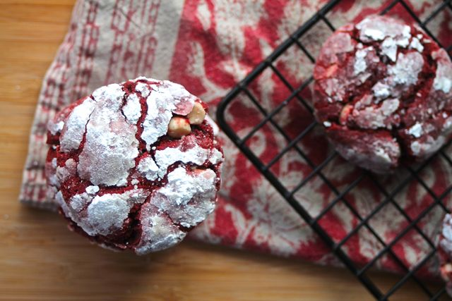 Red Velvet Crinkle Cookies-- not sure where to find vegan white chocolate chips, but these sound delectable.