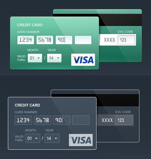 Credit Card: skeuomorph, flat and contour