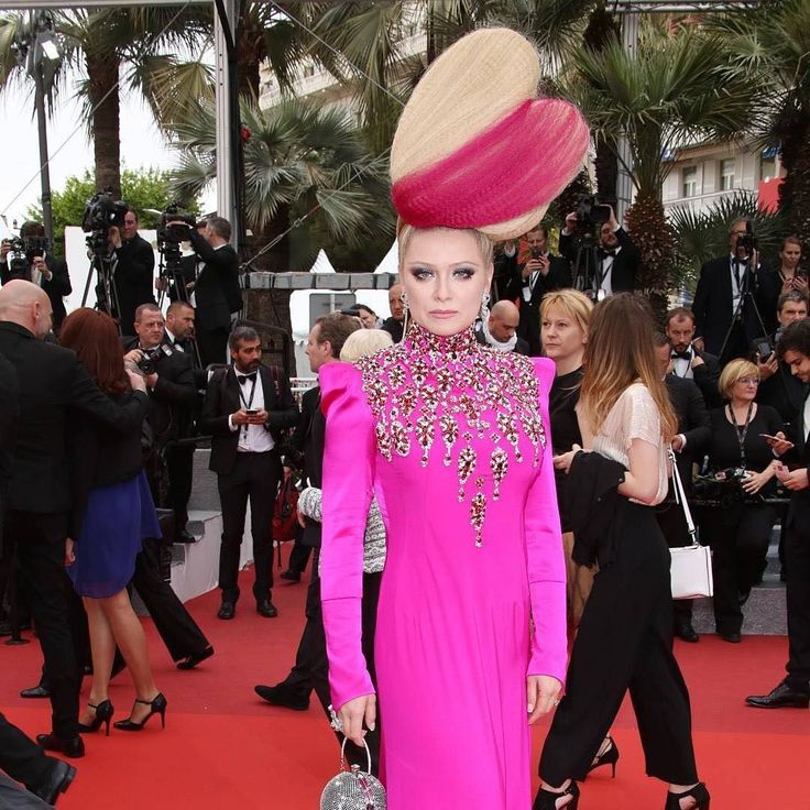 """What an frock This would have fit in so well at our media launch yesterday  #Repost @variety  Russian TV star Elena Lenina had all eyes on her at the """"Slack Bay"""" premiere during the Cannes Film Festival. (Photo by Matt Baron/REX/@ShutterstockNow) #cannes #cannesfilmfestival #cannes2016 #fashionfilm #SheMayLovePinkEvenMoreThanUs"""