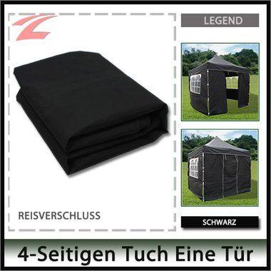Pavillon Seitenteile 3 x 3, Pavillon Seitenwände, aus Polyester (160g/m²), mit Reißverschlss am Pavillon befestigt, 3x3-4RE Schwarz