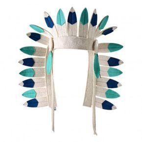 Copricapo da indiano in feltro Turchese Frida's Tierchen