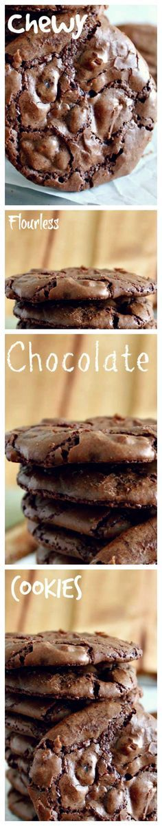 Chewy Flourless Chocolate Cookies by ifood #Cookies #Chocolate #GF