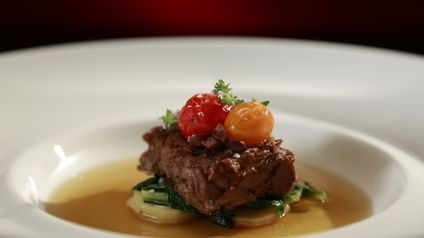 Ouzo & Tomato Braised Lamb with Wilds Greens, Potatoes and Consommé