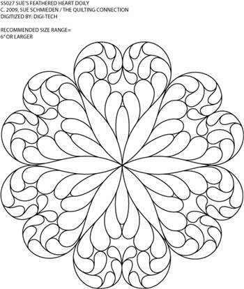 Feathered Heart Doily Motif by Sue Schmieden  SJS027