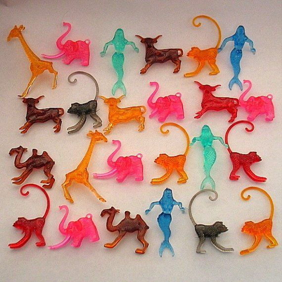 62 vintage MINI PLASTIC ANIMALS  Elephant steer by LaughingGrape - THEY USED TO PUT THESE ON TOP OF MY ICEES AT WOOLWORTHS IN THE 70'S!