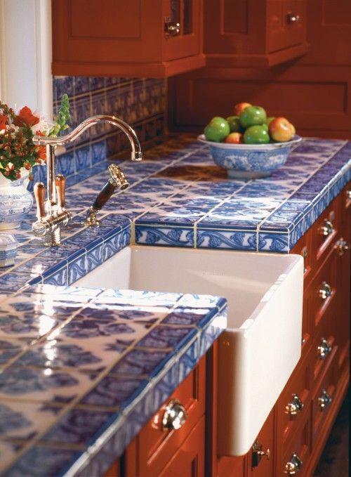 Blue tile countertop Handmade tiles can be colour coordinated and customized re. shape, texture, pattern, etc. by ceramic design studios:
