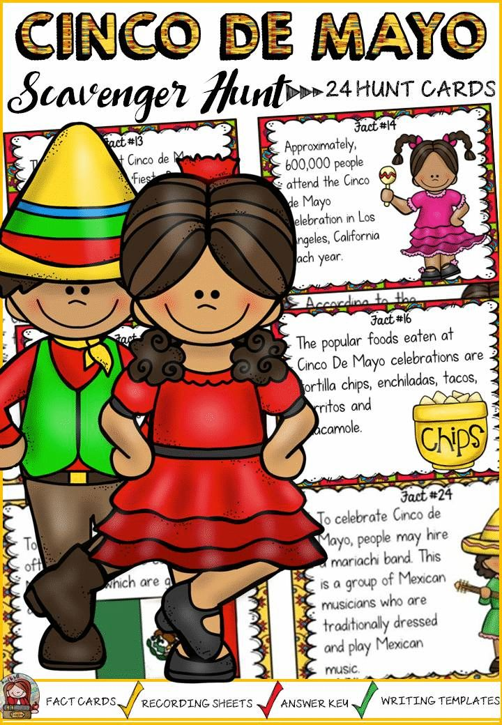 What is a mariachi band? Why is Cinco de Mayo celebrated? Where is the world's largest Cinco de Mayo celebration held? Your students will enjoy knowing the answers to these and many more interesting questions with this 24 Scavenger Hunt Fun Facts pack on Cinco de Mayo. https://www.teacherspayteachers.com/Product/CINCO-DE-MAYO-SCAVENGER-HUNT-2530801