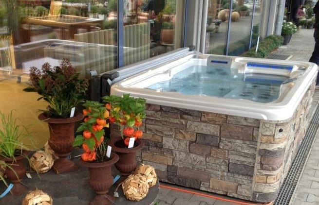 Hot Tub Backyard Idea - Rock Cabinet #spa | Outdoor Spa Living ...