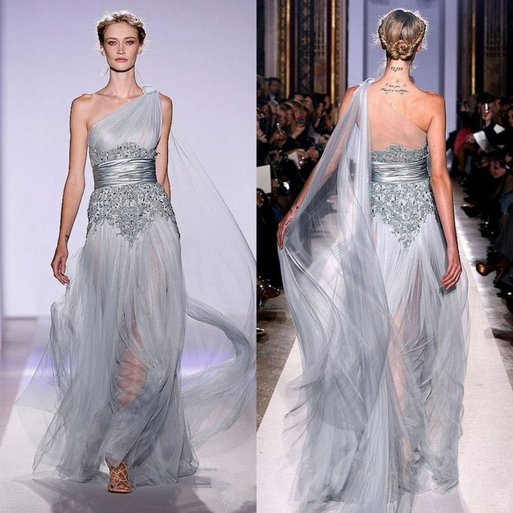 2017 New Fashion One Shoulder Silver Long Tulle Liques Zuhair Murad Couture Evening Dresses Prom Gown